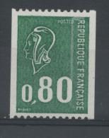 FRANCE -  0,80 VERT BEQUET N° ROUGE AU DOS-  N° Yvert 1894a** - 1971-76 Marianne Of Béquet