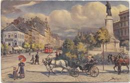 WARSZAWA - VARSOVIE - Faubourg De Cracovie Et Monument De Mickiewicza. Animée, Circulé En 1913. - Pologne