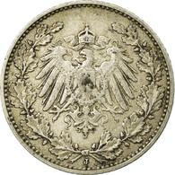 Monnaie, GERMANY - EMPIRE, 1/2 Mark, 1909, Hambourg, TTB, Argent, KM:17 - [ 2] 1871-1918 : Empire Allemand