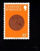 756664676 1980 1981  SCOTT 199 POSTFRIS  MINT NEVER HINGED EINWANDFREI  (XX) COIN TYPE 1 NEW PENNY - Guernesey