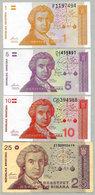 Croatie 1 5 10 Dinara 1991 Lot 4 Billets 3 Sont Neufs - Croatie