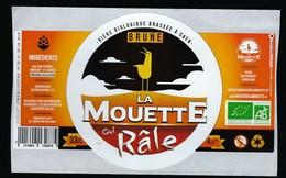 Etiquette Biere Bio Brune La Mouette Qui Râle  4,5 % 33-cl   Micro-brasserie Bio, Urbaine Et Artisanale De Caen - Cerveza