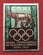 ROMA 1952 C.O.N.I.  MOSTRA INTERNAZIONALE DEL FRANCOBOLLO SPORTIVO    ETICHETTA PUBBLICITARIA  ERINNOFILO - Erinofilia