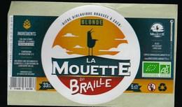 Etiquette Biere Bio Blonde La Mouette Qui Braille  5,5 % 33-cl   Micro-brasserie Bio, Urbaine Et Artisanale De Caen - Cerveza
