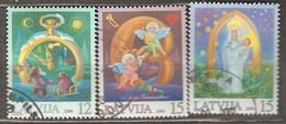 Latvia: Full Set Of 3 Used Stamps, Christmas 2000, Mi#535-537. - Latvia