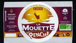 Etiquette Biere Bio Blanche La Mouette Qui Penche  4 % 33-cl   Micro-brasserie Bio, Urbaine Et Artisanale De Caen - Cerveza