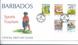 BARBADOS 1994 SPORTS & TOURISM FDC OFFICIAL FIRST DAY COVER HOCKEY RUNNING GOLF BASEBALL SWIMMING - Barbades (1966-...)