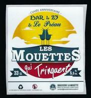 Etiquette Biere Cuvée Anniversaire Les Mouettes Qui Trinquent  5,5% 33-cl   Micro-brasserie  Artisanale De Caen - Cerveza