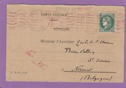 CARTE POSTALE D'UN VICAIRE DE ST. DENIS POUR NAMUR,CACHET DE CENSURE ALLEMANDE. - Lettres & Documents
