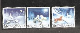 Latvia: Full Set Of 3 Used Stamps, Christmas 2001, Mi#559-561. - Latvia