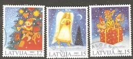 Latvia: Full Set Of 3 Used Stamps, Christmas 2002, Mi#580-582. - Latvia