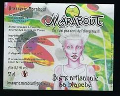 """Etiquette Biere Artisanale La Blanche  5,5% 33-cl   Brasserie  Marabout Maratt 63 """"femme Cheveux Blanc"""" - Cerveza"""