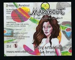 "Etiquette Biere Artisanale La Brune 8% 33-cl   Brasserie  Marabout Maratt 63 ""femme Brune"" - Cerveza"