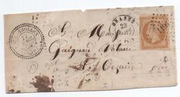 1858 - FRAGMENT Avec RARE CACHET PERLE TàD TYPE 22 & PC 1195 D'ESCRAGNOLLES (ALPES MARITIMES) - Marcophilie (Lettres)
