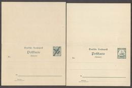 GERMAN COL-EAST AFRICA. C.1900. 2 Doble Mint Ovptd Unovptd Stat Cards. Fine Pair. - Allemagne