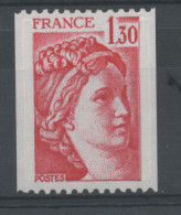 FRANCE -  1F30 Rouge SABINE N° ROUGE AU DOS -  N° Yvert 2063a** - 1977-81 Sabine Of Gandon