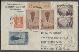Belgium - XX. 1933 (10 Jan). Wetteren - USA (25 Jan). Registered. Multifkd Balloon Issue Env. Fine. - Belgium