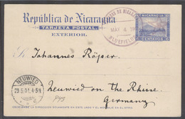 NICARAGUA. 1901 (4 May). Bluefields - Germany (29 May). 6c Blue Stat Card. VF Used Cds Lilac. - Nicaragua