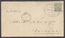 NICARAGUA. 1898 (26 March). Granada - Managua. 5c Green Stat Env Oval Ds Violet Cartero 1. VF. - Nicaragua