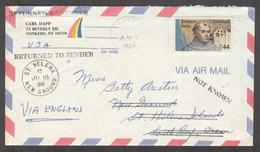 USA - XX. 1986. Yorkers, NY - St Helena / South Atlantic (18 June 86). Air Fkd Fray Junipero Serra With Arrival Cachet O - United States