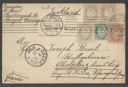 NORWAY. 1905 (29 June). Bergen, Christiesgade - Oberpleis, Germany (3 July). 5 Ore Green Stat Card 4 Adtls Tied Cds 10 O - Norvège