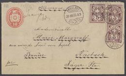 SWITZERLAND. 1885 (30 March). Marnard, Vand - Germany, Ausbach (31 March). 10c Red Embossed Stat Env 3 Adtls Stamps 5c L - Switzerland