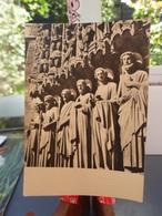 Cpsm PARIS Notre-Dame, Détails D'Architecture (les Apôtres) 4-avril 1955, Timbre Flamme Albert Monier - Notre Dame De Paris