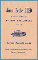VILLERS-BRETONNEUX AUTO-ECOLE BLED 3, Route D'Amiens Garage Renault Convocation Permis De Conduire 1962 - Villers Bretonneux