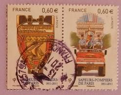 """FRANCE YT 4586/4587 OBLITERES""""DEFILE DU 14/07 SUR 1 VEHICULE+BLASON POMPIERS"""" ANNEE 2011 - France"""