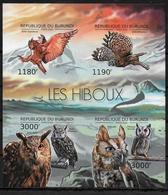 BURUNDI Feuillet  N°  1718/21 * *  NON DENTELE  Hiboux Chouette - Hiboux & Chouettes
