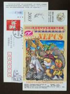 Giraffe Elephant Crocodile Zebra Bird,CN 03 National English Proficiency Contest For Secondary Student Pre-stamped Card - Giraffes