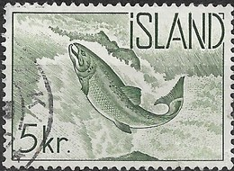 ICELAND 1959 Atlantic Salmon - 5k - Green FU - 1944-... Republique