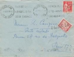 L Berck Plage 8 VII 33 Vers Paris Poste Restante Bureau 54 - Timbre Taxe 30Centimes - 1859-1955 Covers & Documents