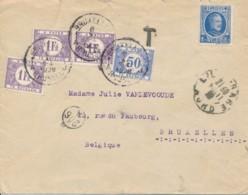 257 1.75 Houyoux Sur Lettre De Lille - France Taxé 3.50Fr à Bruxelles 6 X 1928 - Covers