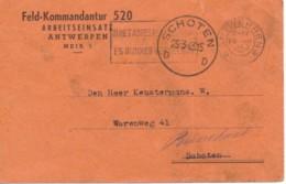 Kaart Feld-Kommandantuur 520 Arbeitseinsatz Antwerpen  Naar Schoten 25-3-1943- Brasschaat - WW II