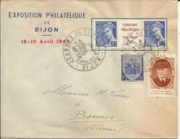 1942- SUPERBE LETTRE - EXPO PHIL. DIJON - N° 536 + Diptyque + Vignette - France