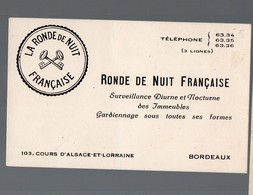 Bordeaux (33 Gironde) Carte RONDE DE NUIT FRANCAISE Surveillance Gardiennage  (PPP18116) - Publicités