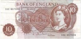 Gran Bretaña - Great Britain 10 Shillings 1962 Pk 373 B Firma J. Q. Hollom Ref 2 - 10 Schillings