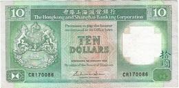 Hong Kong (Gran Bretaña) 10 Dollars 1-1-1985 Pk 191 A.1 Titulo Firma GENERAL MANAGER Ref 3 - Hong Kong