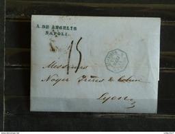 D1 - LAC De Napoli (Naples) à Lyon - 1855 - Marque Postale Cachet Hexagonal Bleu D. Siciles à Marseille - ...-1850 Préphilatélie