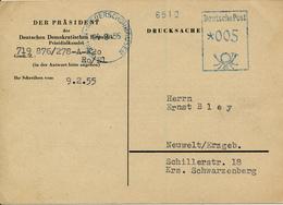 BERLIN-NIEDERSCHÖNHAUSEN - 1955 , DER PRÄSIDENT DER DDR  Präsidialkanzlei - Karte Nach Neuwelt - DDR