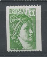 FRANCE -  1F40 Vert SABINE N° ROUGE AU DOS  -  N° Yvert 2157a** PAPIER GRIS SOUS UV - 1977-81 Sabine De Gandon