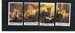 STATI UNITI (U.S.A.) - SG 1668  - 1976 AMERICAN REVOLUTION: INDEPENDENCE DECLARATION (COMPLET SET OF 4) - USED - Usati