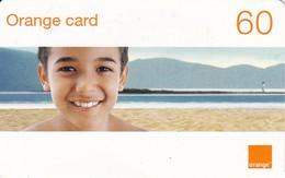 TARJETA DE LA REPUBLICA DOMINICANA  DE 60 UNITS DE ORANGE CARD (NIÑO EN LA PLAYA) - Dominicaanse Republiek