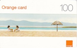 TARJETA DE LA REPUBLICA DOMINICANA  DE 100 UNITS DE ORANGE CARD (NIÑAS EN LA PLAYA) - Dominicaanse Republiek