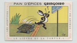 """Buvard """" Pain D'épices Gringoire """" Le Lièvre Et La Tortue  ( Pliures, Rousseurs, 21 X 13,5 Cm ) - Gingerbread"""