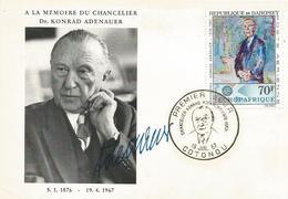 Benin Dahomey 1967 Cotonou Chancellor Konrad Adenauer FDC Card - Benin – Dahomey (1960-...)