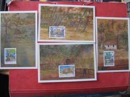 4 Cartes Premier Jour -  LE FALE TRADITIONNEL - MATA UTU - 9 Août 2002 - Illustrateur : L. ARQUER - Wallis Et Futuna
