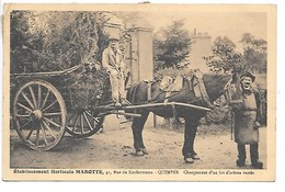 Cpa...établissement Horticole MARIOTTE ,41 Rue De Kerfeunteun Quimper..chargement D'un Lot D'arbres..animée 1934.. - Quimper