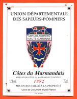 étiquette De Vin Cotes Du Marmandais 1992 Sapeurs Pompiers De Haute Garonne Caves à Cocumont - 75 Cl - Vin De Pays D'Oc